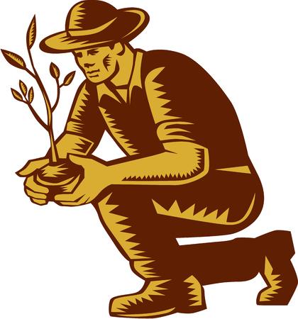 sembrando un arbol: Ilustración de un árbol planta orgánica agricultor vistiendo plantación sombrero visto desde el lado en el fondo blanco aislado hecho en estilo retro grabado en madera.