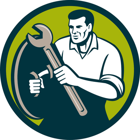 handyman: Illustration of a mechanic brandishing spanner wrench looking to the side viewed from front set inside circle on isolated background done in retro style. Illustration