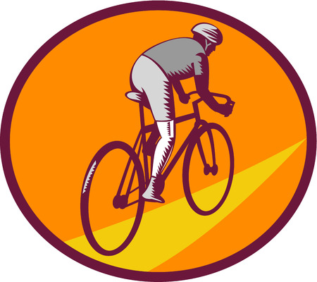 oval shape: Illustration of cyclist wearing helmet riding racing bicycle cycling biking viewed from rear set inside oval shape on isolated background done in retro woodcut style.