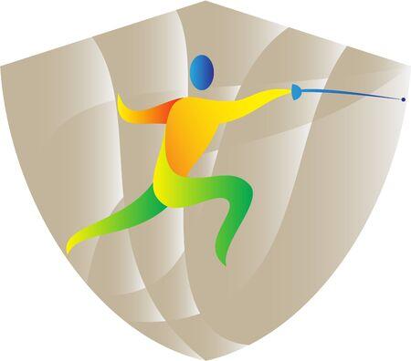 swordsmanship: Illustration of a man fencer holding sword in fencing stance viewed from side set inside shield crest done in retro style. Illustration