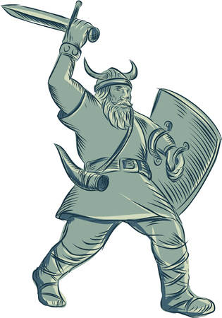 raider: Etching engraving handmade style illustration of a viking warrior raider barbarian with shield and sword striking set on isolated white background.