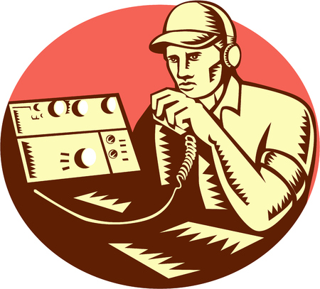 Illustration of a ham radio operator with headset and talking on the transreceiver set inside circle on isolated background done in retro woodcut style.