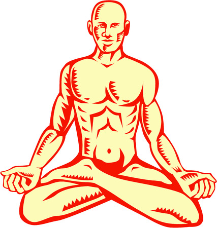 linocut: Illustration of a man medidating in lotus position cross-legged sitting asana in which the feet are placed on the opposing thighs viewed from front set on isolated white background done in retro woodcut style. Illustration