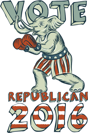 republican party: Etching engraving handmade style illustration of an American Republican GOP elephant boxer mascot boxing with boxing gloves wearing USA stars and stripes flag shorts viewed from side set on isolated white background with words Vote Republican 2016.