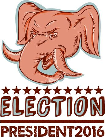 gop: Etching engraving handmade style illustration of an American Republican GOP elephant mascot head viewed from front with words Election President 2016.