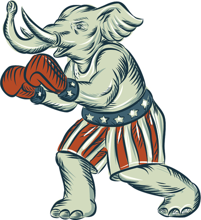 republican party: Etching engraving handmade style illustration of an American Republican GOP elephant boxer mascot boxing with boxing gloves wearing USA stars and stripes flag shorts viewed from side set on isolated white background. Illustration