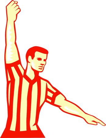 Illustratie van een basketbal scheidsrechter stoppen klok stak daarentegen voor overtreding set op witte achtergrond gedaan in retro stijl.