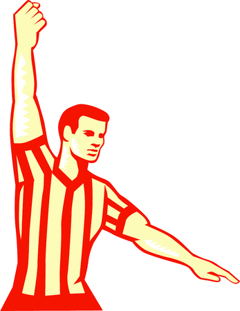 Illustration of a basketball referee stopping clock holding out other hand for foul set on isolated white background done in retro style.