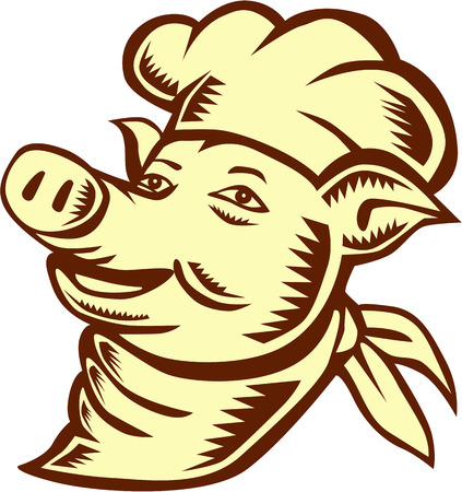 woodblock: Illustration of a pig chef cook head wearing hat looking up to the side set on isolated white background done in retro woodcut style.