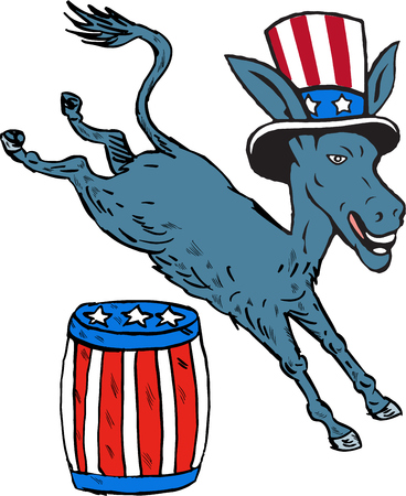 Illustration of a democrat donkey mascot of the democratic grand old party gop wearing hat jumping over barrel with stars and stripes design set on isolated white background done in cartoon style.
