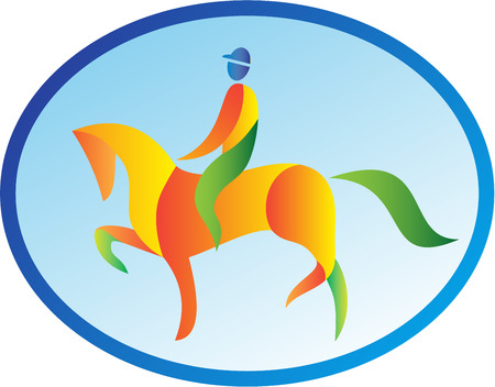 horseback riding: Illustration of an equestrian rider riding horse dressage viewed from the side set inside oval shape on isolated background done in retro style.