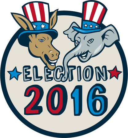 Illustration of democrat donkey head mascot and republican elephant head mascot  wearing hat with stars and stripes design set inside circle with the words Election 2016.