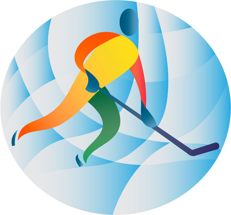ice hockey player: Illustration of an ice hockey player skating holding stick viewed from front set inside circle done in retro style.