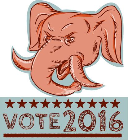 gop: Etching engraving handmade style illustration of an American Republican GOP elephant mascot head viewed from front with words Vote 2016. Illustration