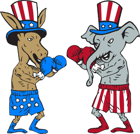 Illustration of a democrat donkey boxer mascot and republican elephant boxer mascot wearing gloves and hat with stars and stripes design facing each other in a fighting stance pose set on isolated white background done in cartoon style.