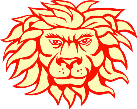 big head: Illustration of an angry lion big cat head with flowing mane viewed from front set on isolated white background done in retro style.