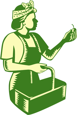 printmaking: Illustration of a female fruit picker fruit worker wearing bandana holding basket and fruit  viewed from the side set on isolated white background done in retro woodcut style. Illustration