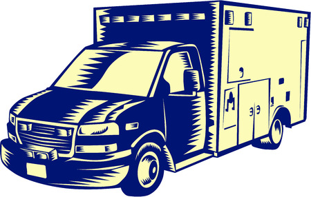emergency medical: Illustration of an EMS emergency medical service ambulance vehicle viewed from front on isolated white background done in retro woodcut style. Illustration