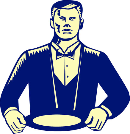 cravat: Illustration of a waiter wearing cravat holding plate serving viewed from front set on isolated white background done in retro woodcut style. Illustration