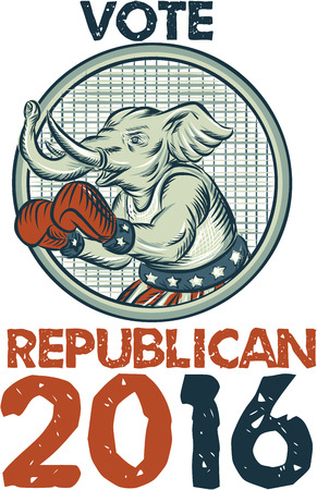 gop: Etching engraving handmade style illustration of an American Republican GOP elephant boxer mascot boxing with boxing gloves wearing USA stars and stripes flag shorts viewed from side with words Vote Republican 2016.