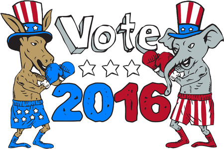 Illustration of a democrat donkey boxer mascot and republican elephant boxer mascot wearing gloves and hat with stars and stripes design facing each other in a fighting stance pose with the words Vote 2016 done in cartoon style.