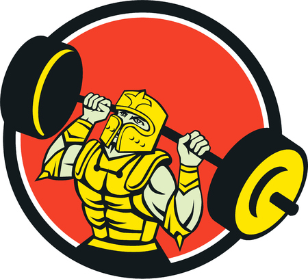 looking up: Illustration of knight in full armor lifting barbell looking up set inside circle viewed from front done in retro style on isolated background.