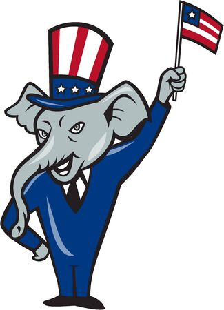 Illustration of a republican elephant mascot of the republican grand old party gop smiling looking to the side with one hand on hip and the other waving american usa flag wearing american stars and stripes hat and suit done in cartoon style set on isolate
