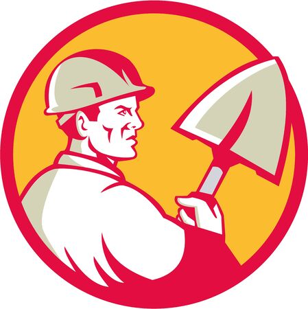 Illustration of a construction worker wearing hard hat holding spade viewed from side set inside circle done in retro style.