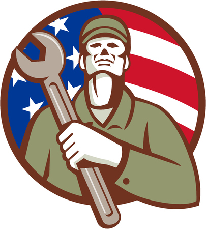 man looking up: Illustration of a mechanic worker wearing hat holding wrench on chest looking up set inside circle with american usa flag stars and stripes in the background done in retro style.