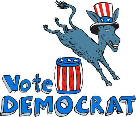 burro: Ilustración de una mascota de burro del demócrata del gran viejo partido democrático gop llevaba sombrero de saltar sobre el barril con barras y estrellas de diseño situado en el fondo blanco aislado hecho en estilo de dibujos animados.