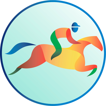 horse racing: Illustration of a horse and jockey equestrian show jumping viewed from side set inside circle done in retro style.