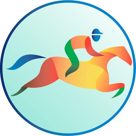 corse di cavalli: Illustrazione di un cavallo e fantino spettacolo equestre saltando visto dal lato impostato all'interno cerchio fatto in stile retrò.