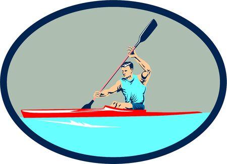 oval shape: Illustration of man riding kayak racing canoe sprint paddling set inside oval shape done in retro style. Illustration