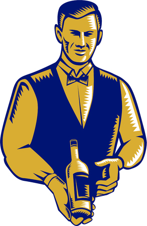 linocut: Illustration of a waiter holding presenting wine bottle facing front set on isolated white background done in retro woodcut style. Illustration