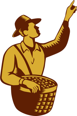 fruit basket: Illustration of a fruit picker fruit worker wearing hat carrying basket full of fruits pointing up set inside on isolated white background done in retro woodcut style.