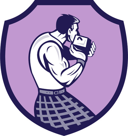 back view man: Illustration of a scotsman wearing kilt holding weight throwing viewed from rear set inside shield crest on isolated background done in retro style.