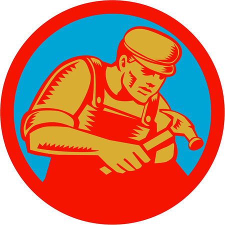 woodblock: Illustration of a carpenter with hammer set inside circle on isolated background done in retro woodcut style.