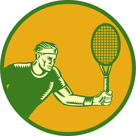 racquet: Illustration of a tennis player holding racquet playing tennis doing a forehand shot set inside circle done in retro woodcut style. Illustration