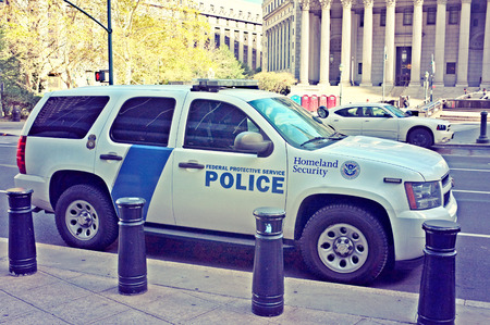 homeland: NEW YORK, OCT. 4: Homeland Security Federal Protective Service Police Car r parked in the streets of New York City, New York, United States taken on Oct. 4, 2015. Editorial