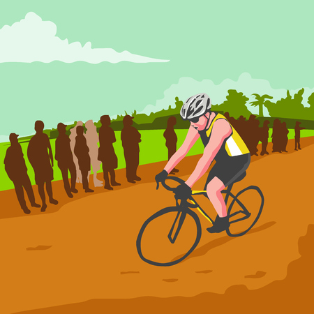 wpa: WPA style illustration of a male cyclist riding bicycle racing cycling biking with people crowd in the background done in retro style.