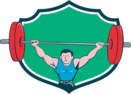 gewichtheffer: Illustration of a weightlifter deadlift lifting weights viewed from front set inside shield crest on isolated background done in cartoon style. Stock Illustratie
