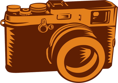 linocut: Illustration of a camera with 35mm lens vintage style set on isolated white background done in retro woocut style. Illustration
