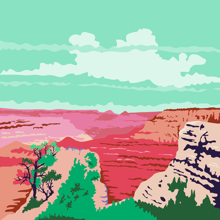 WPA style illustration of the Grand Canyon a steep-sided canyon carved by the Colorado River in Arizona, United States done in retro style. Illustration