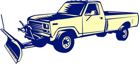 레트로 woodcut 스타일을 이루어 격리 된 흰색 배경에 설정 눈 쟁기 트럭의 그림입니다.