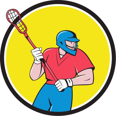 crosse: Illustration of a lacrosse player holding a crosse or lacrosse stick running looking to the side viewed from front set inside circle on isolated background done in cartoon style.