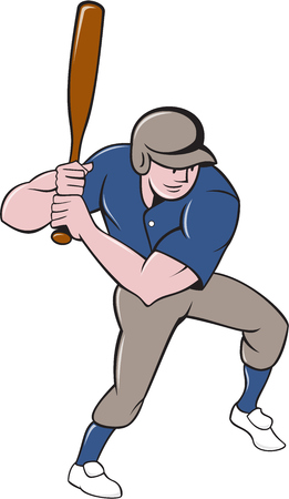 hitter: Illustration of an american baseball player batter hitter with bat batting viewed from high angle set on isolated white background done in cartoon style.