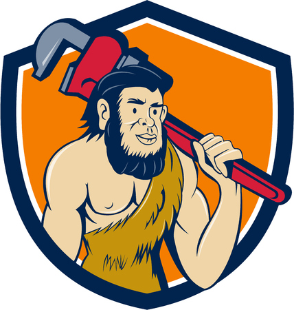 sapiens: Illustration of a neanderthal man or caveman plumber holding monkey wrench on shoulder set inside shield crest on isolated background done in cartoon style.