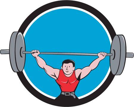 levantar pesas: Ilustración de un peso muerto de pesas levantamiento de pesas visto de frente fijó el círculo interior en el fondo aislado hecho en estilo de dibujos animados. Vectores