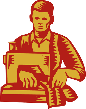 machinist: Illustration of a tailor machinist with sewing machine sewing facing front set on isolated white background done in retro woodcut style.
