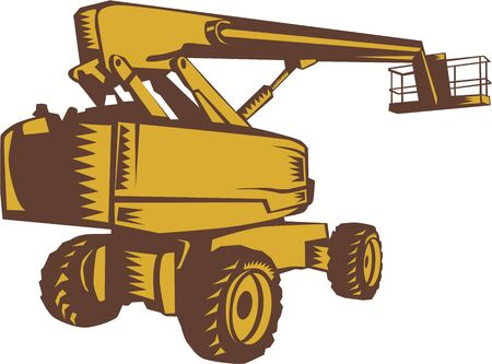 picker: Illustration of a cherry picker mobile lift platform viewed from rear side set on isolated white background done in retro woodcut style.